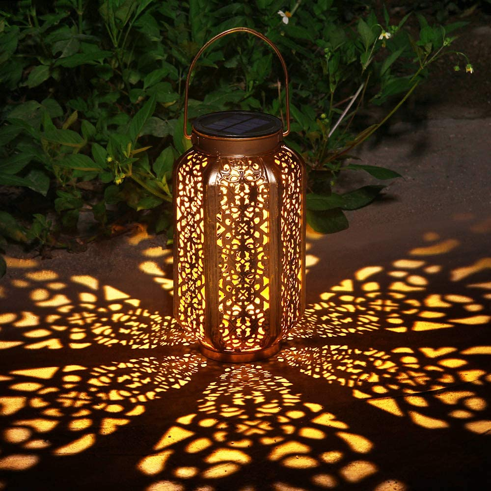 Solar Big Lantern Outdoor Hanging Lanterns Solar Lights Garden Lantern Patio Decor Metal Yard Art Garden Accessories Outdoor Decorations for Porch,Yard, Lawn, Patio