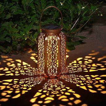 Faroles Solares Exteriores Luz Solar Colgante Luces Jardines Decorativas Lámpara Exterior Recargable Portátil para Jardín Patio Porche y Camino (B): Amazon.es: Iluminación