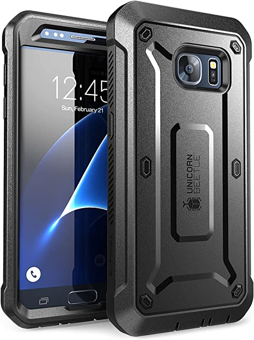 Amazon Com Supcase Unicorn Beetle Pro Series Case Designed For Galaxy S7 With Built In Screen Protector Full Body Rugged Holster Case For Samsung Galaxy S7 2016 Release Black Black