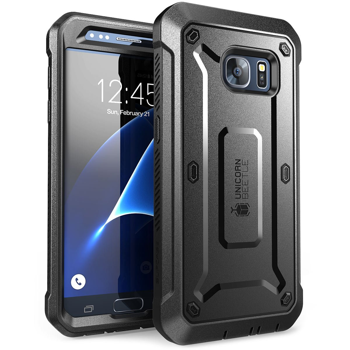 SUPCASE Unicorn Beetle Pro Series Case Designed for Galaxy S7, with Built-In Screen Protector Full-body Rugged Holster Case for Samsung Galaxy S7 (2016 Release) (Black/Black) by SupCase