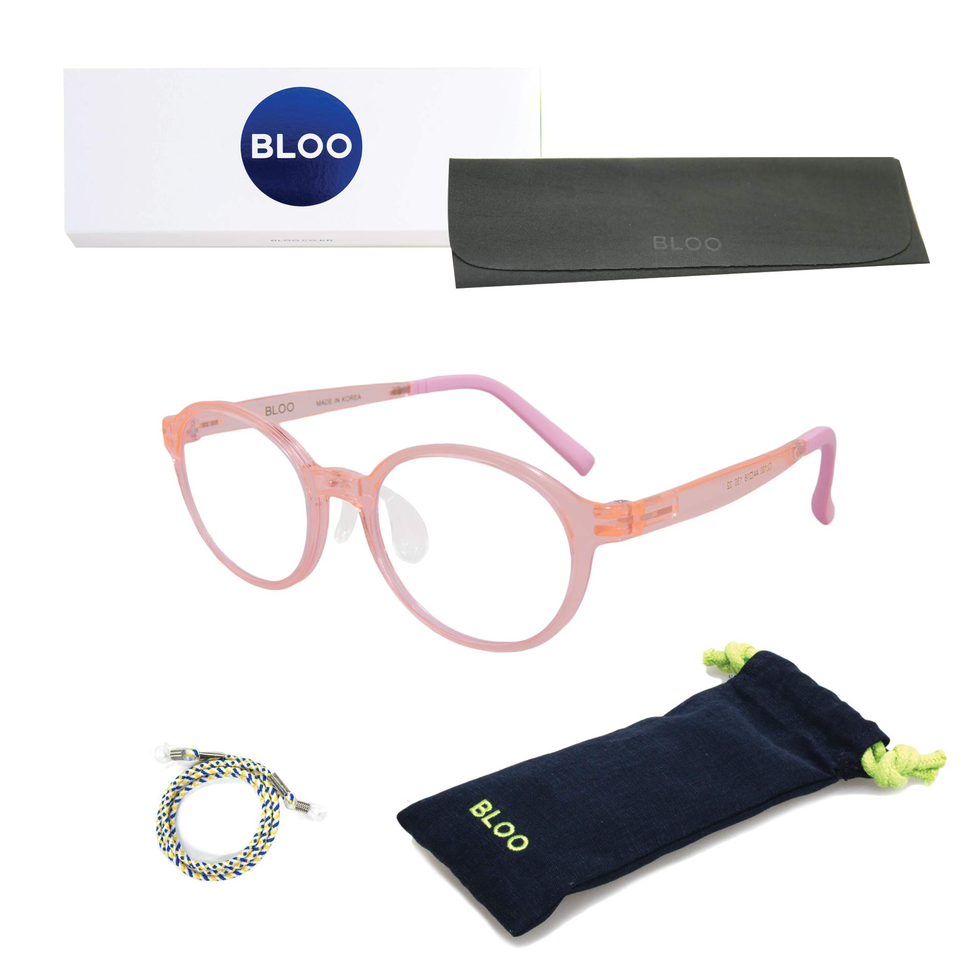 BLOO CL100 Blue Light Blocking Glasses for Kids. Premium 0.00 Clear Glass Filter, Eye Guard. Harmful Light Blocking Filter with Proper Size for Your Children. Great Package (Clear Pink)