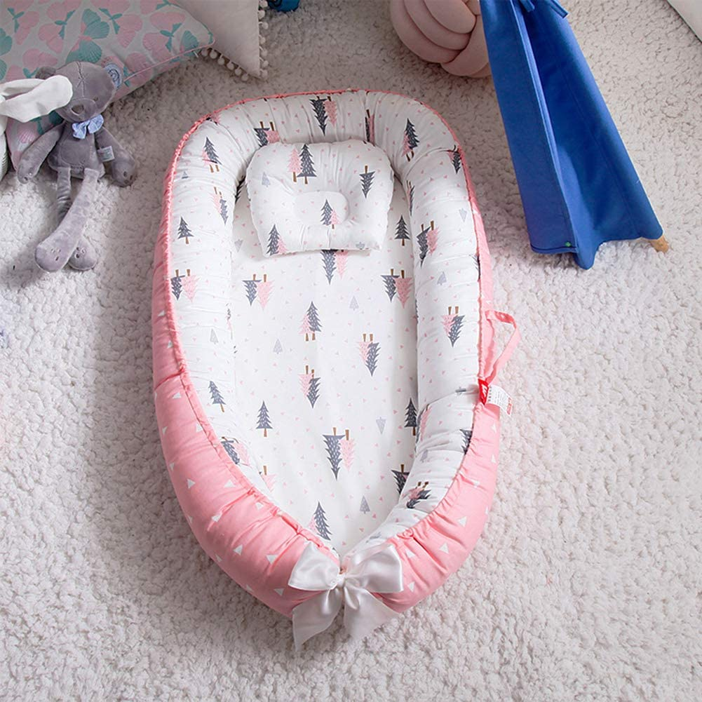 for 0-36 Months Newborn Baby Portable Detachable Baby Lounger,100/% Soft Cotton Breathable Washable Anti Slip Crib,Baby Nordic Animal Cotton Removable Washable Travel Bed Forest pink