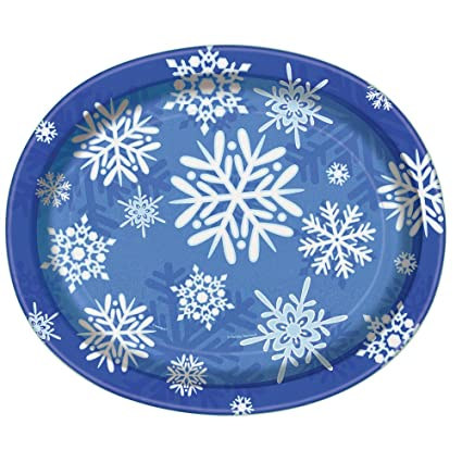 Winter Snowflake Holiday Oval Paper Plates 8ct  sc 1 st  Amazon.com & Amazon.com: Winter Snowflake Holiday Oval Paper Plates 8ct: Kitchen ...
