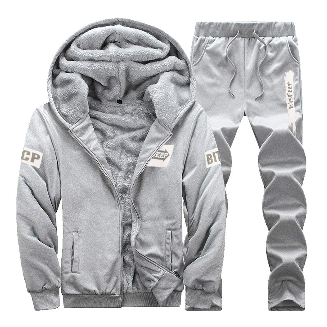 Men Winter Thick Casual Tracksuits 2 Pieces Sets Sports Jogging Hoodie Cardigan Sweat Suits Grey