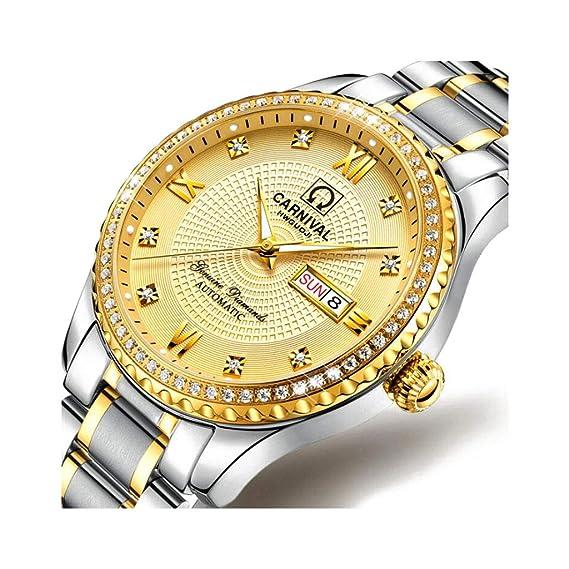 CARNIVAL Relojes para Hombre, Rhinestone de Lujo Automatico Reloj Mecanico Multifuncional Impermeable Relojes de Pulsera