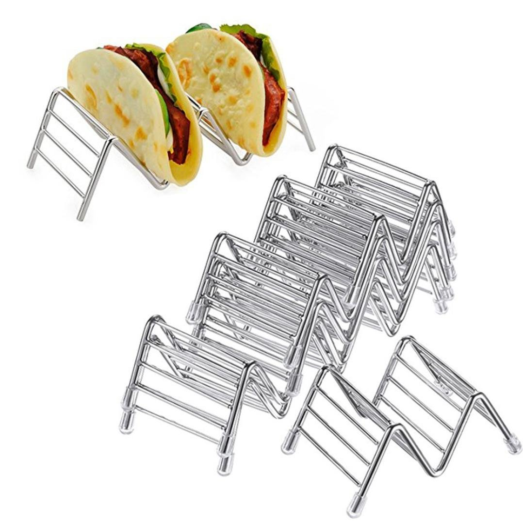 Hot Sale! Hongxin Stainless Steel Taco Holder Stand Holds Wave Durable Shell Mexican Food Rack Useful Pizza Tool Restaurant Food Show Pie Tools (A) by Hongxin (Image #4)