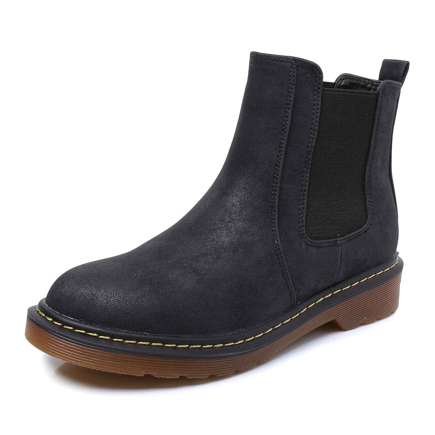 Smilun Kids¡¯s Ankle Chelsea Boots Flats Low Heel with Block Western Chunky Heel Chelsea Boots for Kids Black US6