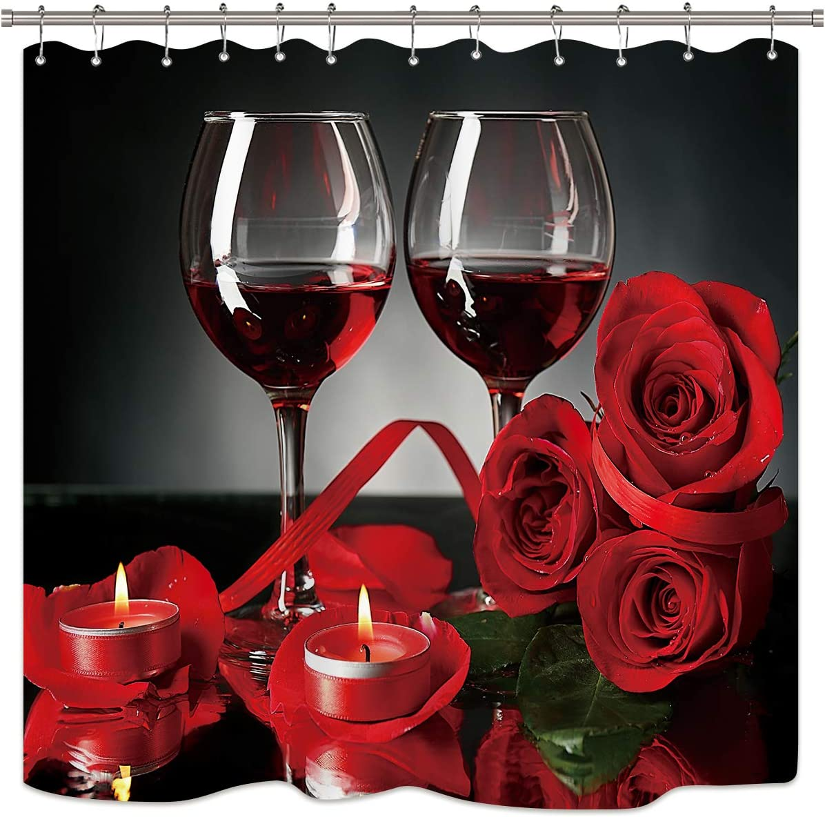 Riyidecor Red Rose and Wine Shower Curtain Panel Floral Blooming Flower Romantic Lovers Decor Fabric Bathroom Set Polyester Waterproof 72Wx72H Inch with Plastic Hooks 12 Pack