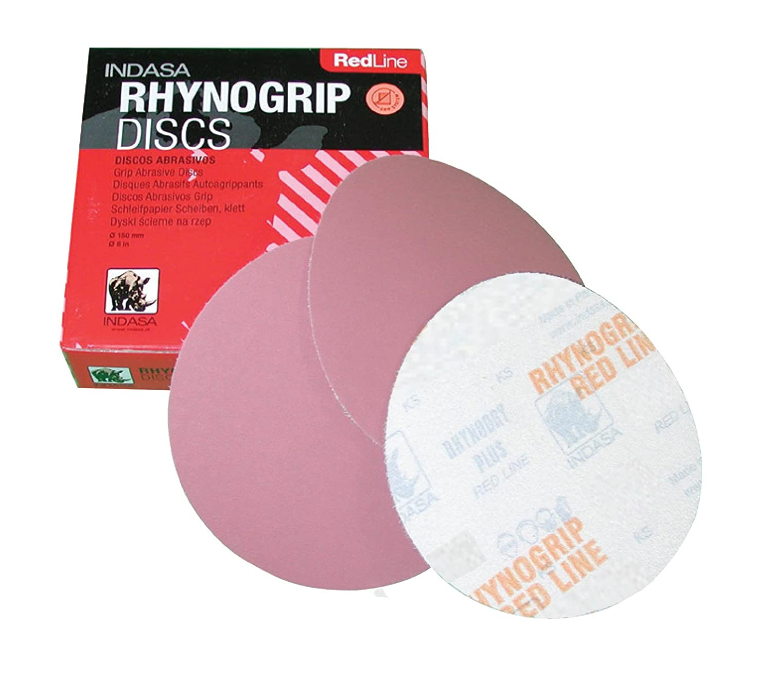 INDASA REDLINE XL RHYNOGRIP Hook and Loop - SOLID DISCS 6' 220 GRIT 50/box