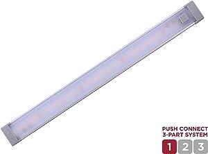 "BLACK+DECKER LEDUC9-1WB Push Connect Under Cabinet Light Bar, Plug-in or Hardwire, 9"", Warm White, Gray"