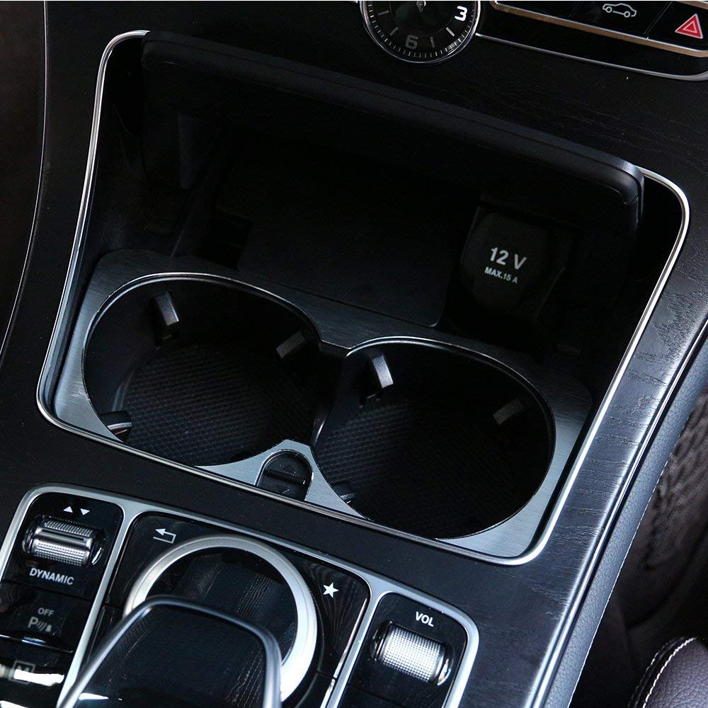 Aluminum alloy Cup Holder Cover Frame Trim Car Accessories for Mercedes benz C Class W205 GLC X253 E W213 Autobro