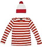 Waldo Costume Red White Pom Pom Cuff Knit Beanie Hat
