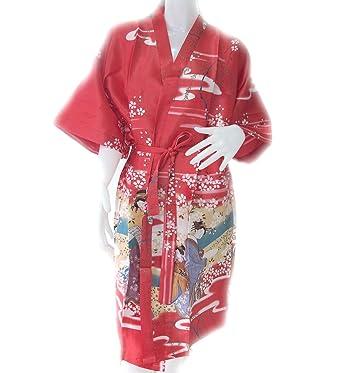 Amazon.com: Geisha Kimono Albornoz de mujer satén seda Robe ...