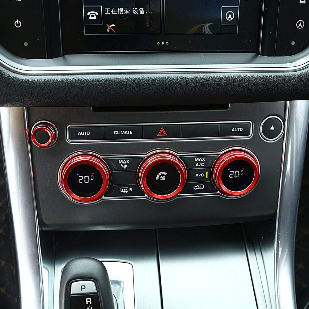 4Pcs/Set for Land Rover Range Rover Sport Vogue Autobiography 2014-2017 Aluminum Alloy Air Conditioning Knob Audio Circle Trim (red) by CHEYA (Image #1)