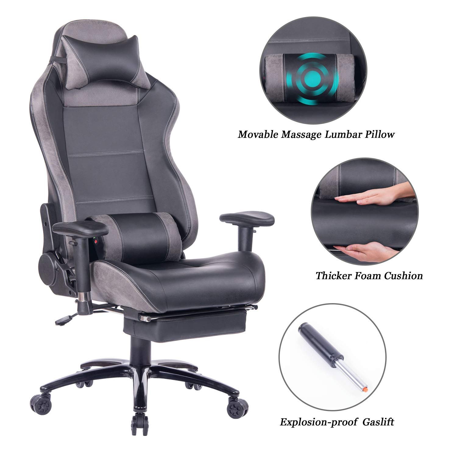 Blue Whale Massage Gaming Chair with Footrest Matel Base-Memory Foam Adjustable Backrest Reclining PC Computer Video Gamer Chair Racing High Back Game Chairs PU Leather Desk Office Chair BW 263 Grey