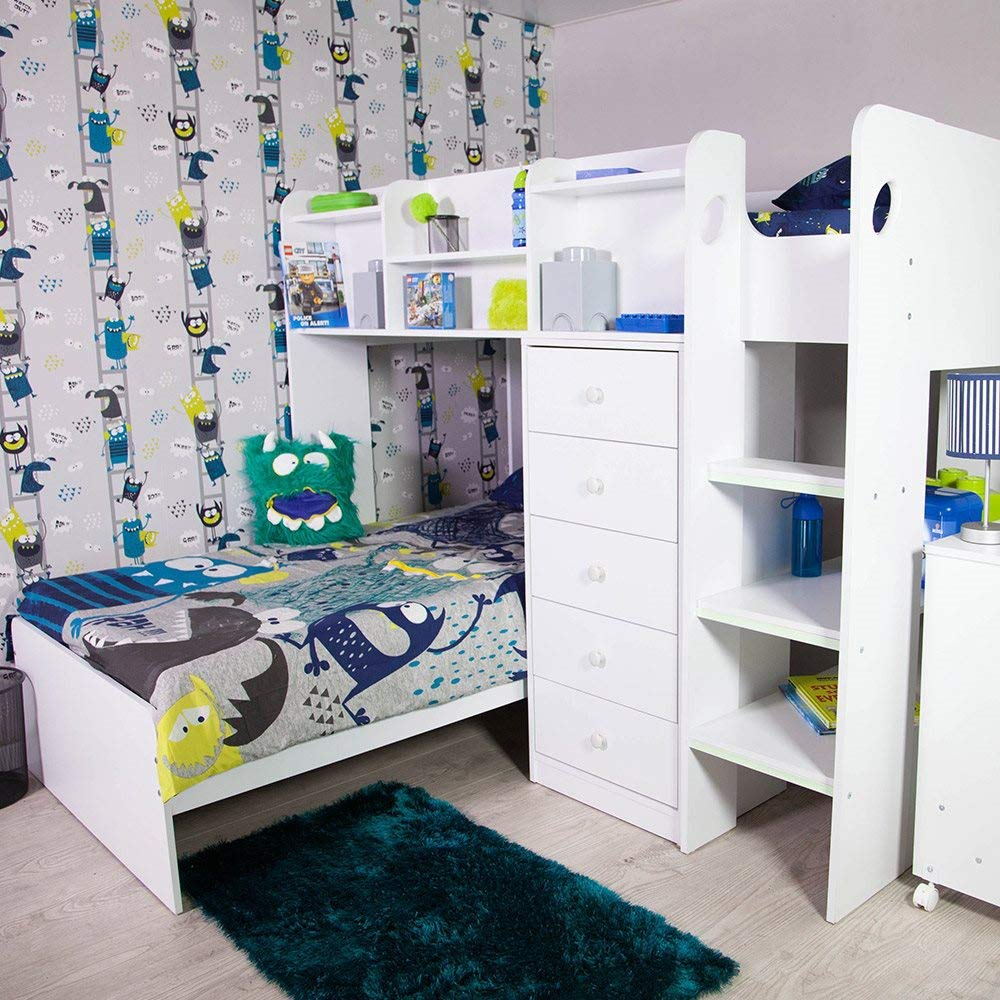 Flair Furniture Kids Wizard L Shaped Bunk Bed In White Buy Online In United Arab Emirates At Desertcart Ae Productid 50813007