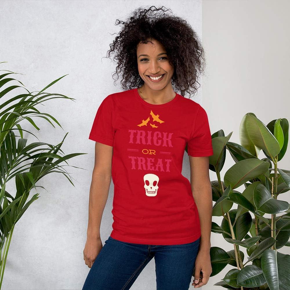 Skull bat Halloween Unisex Short Sleeve Jersey T-Shirt with Tear Away Label