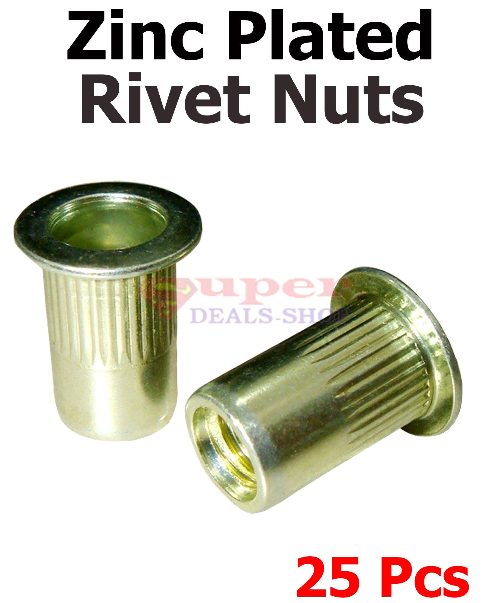 25 Pcs Steel Rivet Nuts Rivnut Insert Nutsert Zinc Rivet Nuts 10-24 UNC Super-Deals-Shop