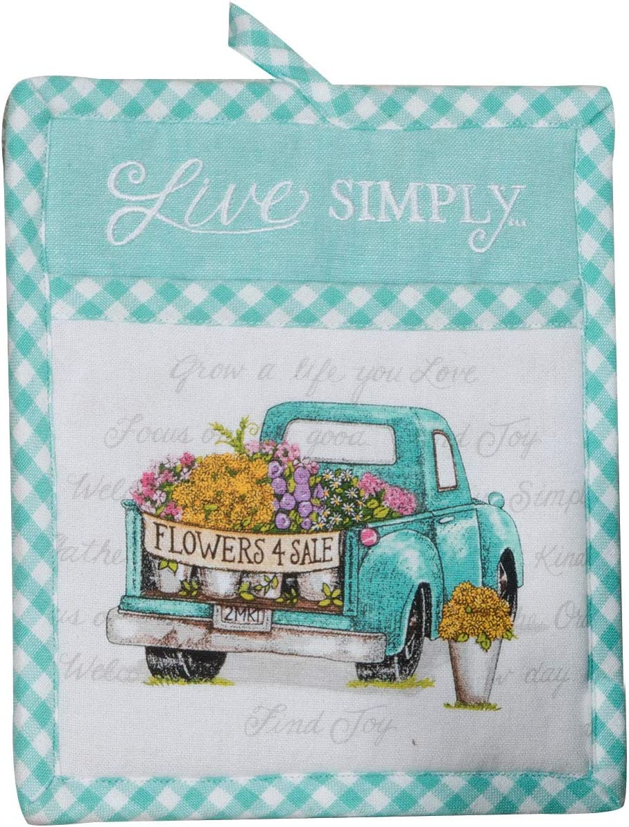 Kay Dee Designs Live Simply Embroidered Pocket Oven Mitt, 7 x 9, Various