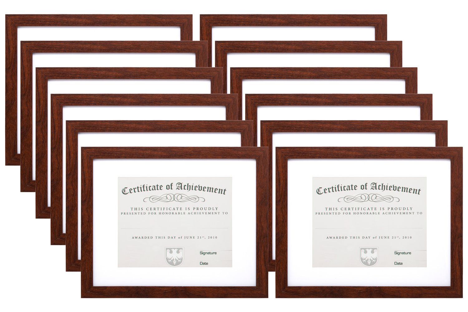 MeiC 12 Pack 11x14'' Wall Mounting Certificate Document Photo Frames 8.5x11 with Mat 11x14 without Mat Brown