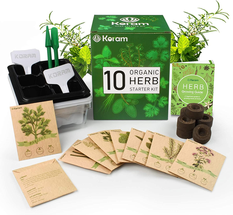 Amazon Com Koram Herb Garden Kit Growing Kit Gardening Starter Set 10 Herbs Grow From Organic Seeds Indoor Herb Kit With Everything A Gardener Needs For Growing Herbs Indoors Kitchen Balcony Christmas