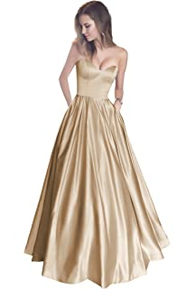 Harsuccting Sweetheart Strapless Long Satin Prom Dress with Pockets