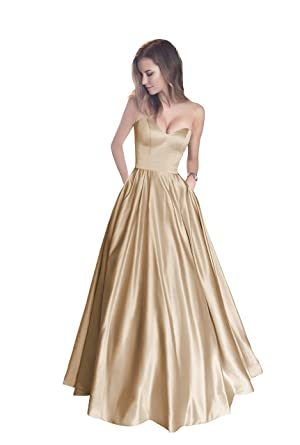 Harsuccting Sweetheart Strapless Long Satin Prom Dress with Pockets Champagne 10