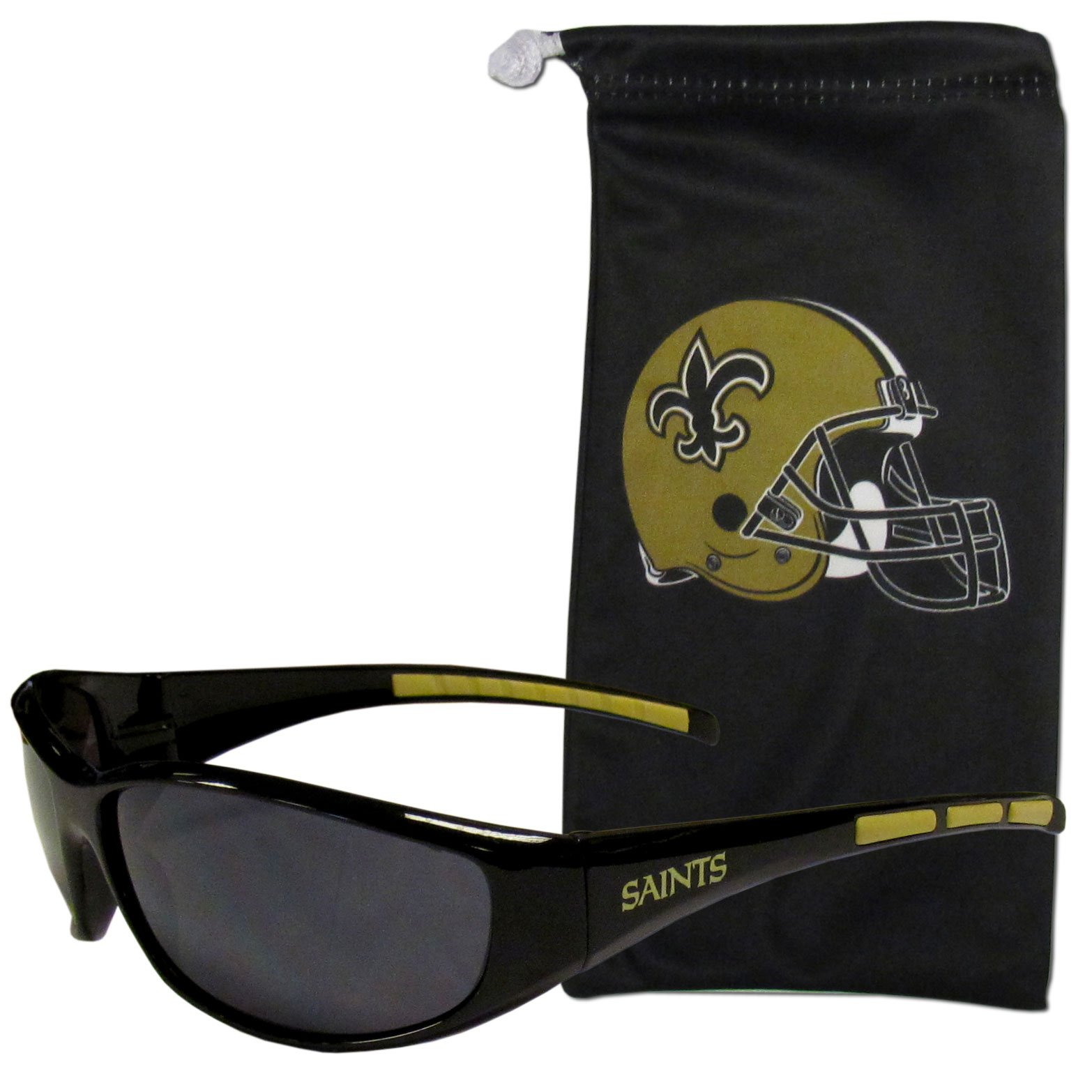 NFL New Orleans Saints Adult Sunglass and Bag Set, Black
