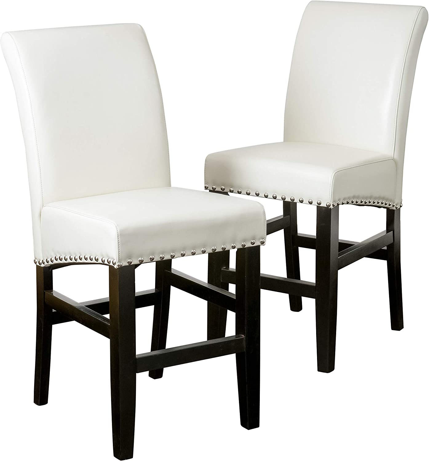 Christopher Knight Home 238543 Lisette Leather Counter Stool (Set of 2), Ivory