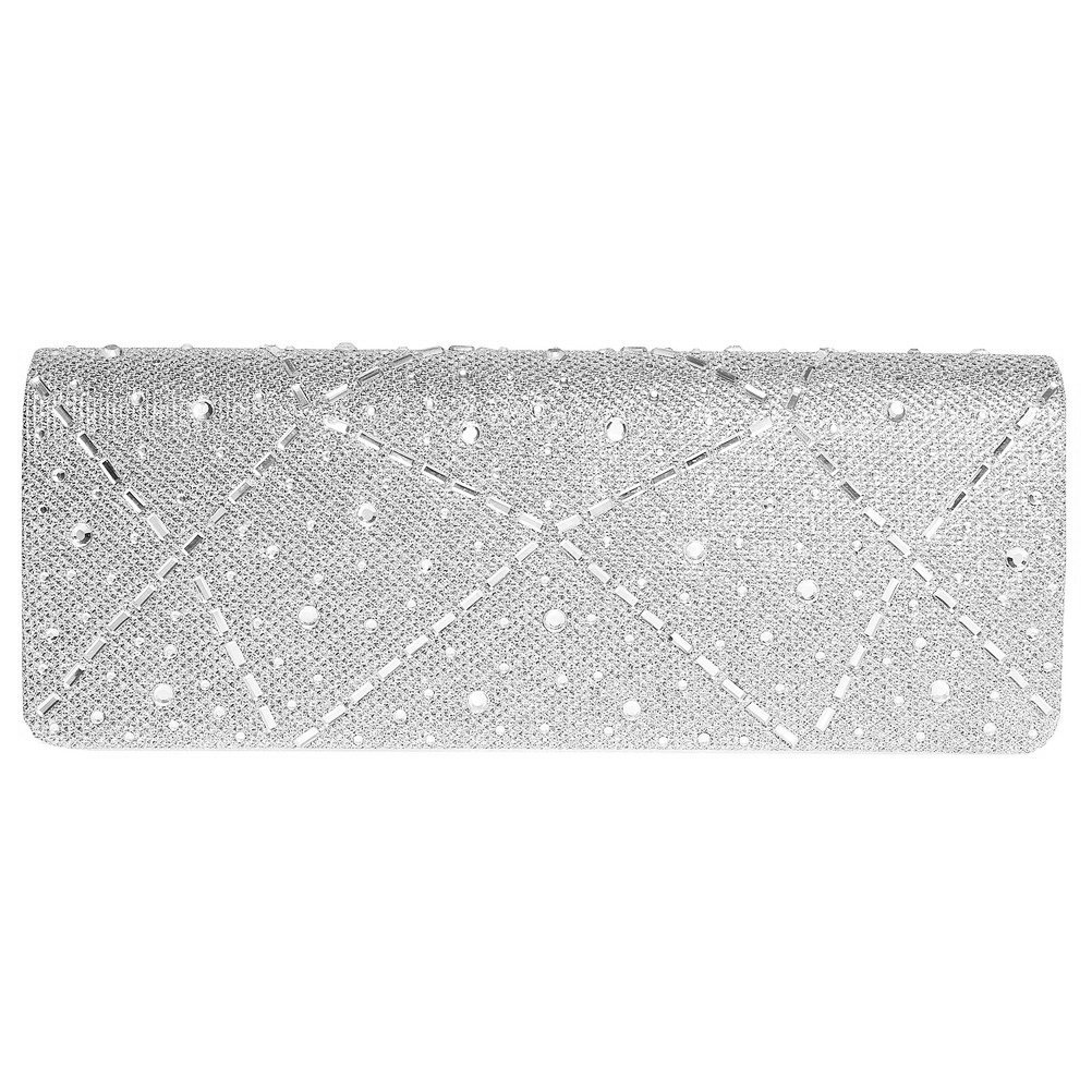 Fashion Road Evening Clutch, Womens Elegant Rhinestone Hard Case Clutch Purse for Wedding & Party Silver