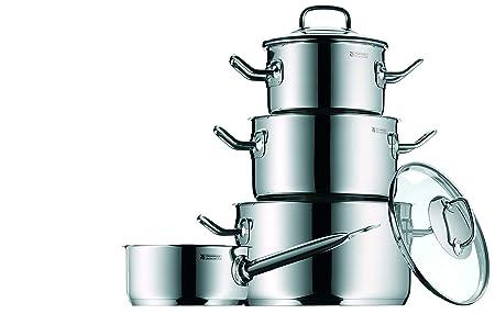 WMF Profi Plus - Batería de cocina de 4 piezas de acero inoxidable (cacerola de Ø 20 cm y 2.8 L, 2 ollas bajas de Ø 16 cm y 2.0 L y Ø 24 cm y 6.0 L, ...