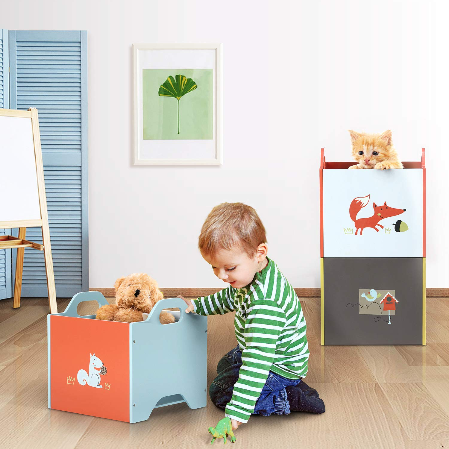 Kid Storage Bin//Kid Storage Box//Kid Storage Container//Kid Chest//Kid Trunk Labebe Wooden Toy Storage Bin 3-Color Combined Stackable Fox Toy Bin Closed Door Baby Toy Chest with 3-Layer for Baby