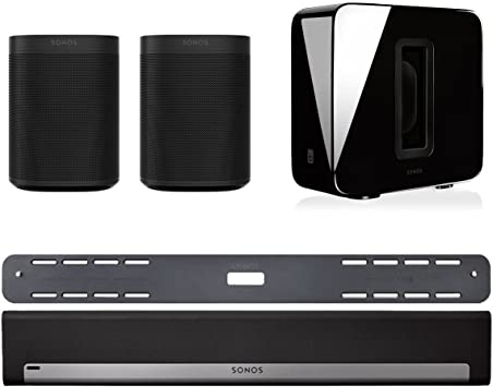 Home Theatre System with Playbar Black Sub and 2 Sonos Ones Sonos 5.1 Surround Set