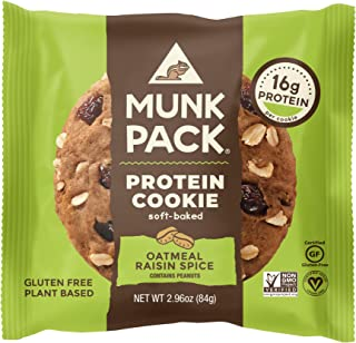 product image for Munk Pack Oatmeal Raisin Spice Protein Cookie with 16 Grams of Protein | Soft Baked | Vegan | Gluten, Dairy and Soy Free | 6 Pack
