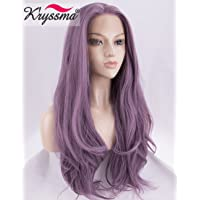K'ryssma Natural Straight Purple Lace Front Wigs Long Synthetic Lace Wig for Women Heat Resistant Fiber Hair 22 Inch