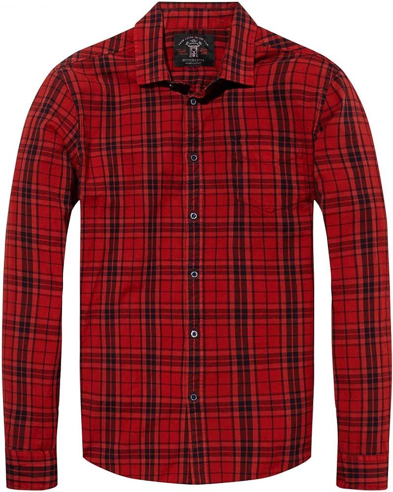 Scotch & Soda Camisa Oxford Cuadros Roja XL: Amazon.es: Ropa y accesorios