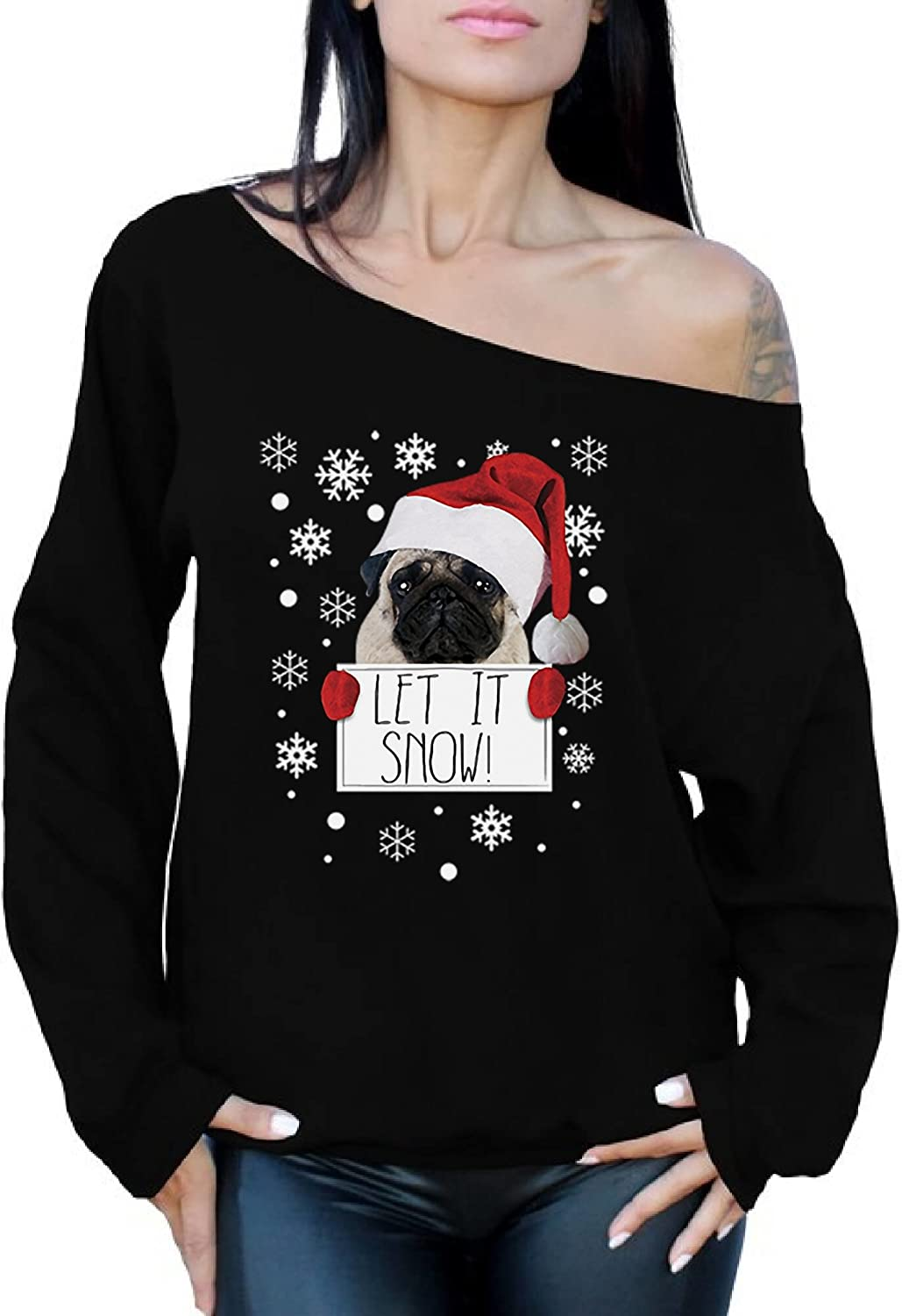 Awkward Styles Let it Snow Sweatshirt Christmas Pug Off The Shoulder Top Ugly Christmas Sweater