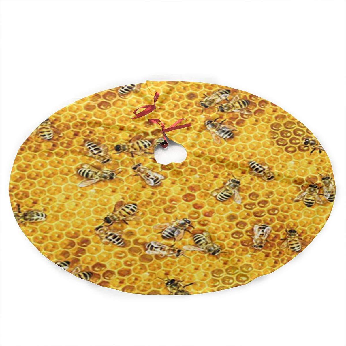 Honey Bees On A Honey Combs Christmas Tree Skirt with Santa, Xmas Tree Decorations Skirts Holiday Ornaments with Double Edges