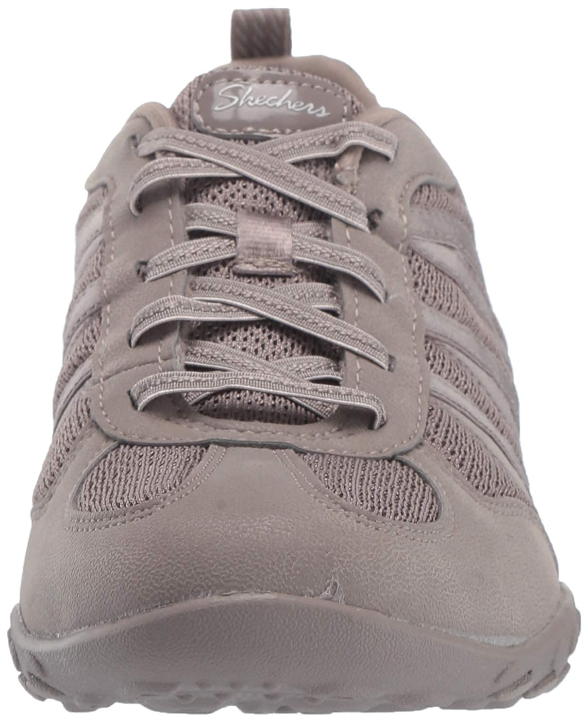 Skechers Damen Breathe-Easy - Be-Relaxed Slip On Sneaker Beige (Taupe Micro Leather/Mesh/Natural Trim Tpe)