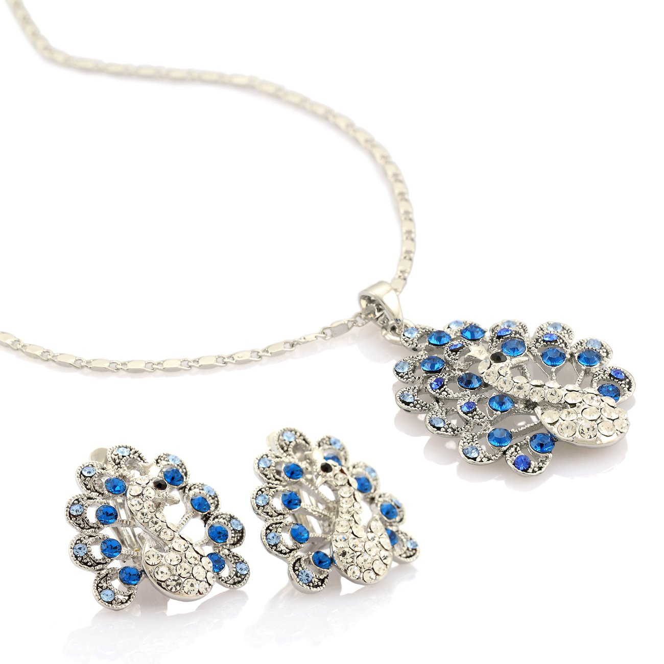 Womens Royal Peacock Pendant Necklace   Earrings Maharaja Contemporary Set 78441154a832