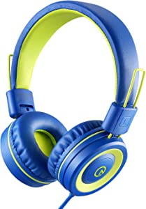 Kids Headphones - noot products K12 Foldable Stereo Tangle-Free 3.5mm Jack Wired Cord On-Ear Headset for Children/Teens/Boys/Girls/Smartphones/School/Kindle/Airplane Travel/Plane/Tablet (Blue/Lime)