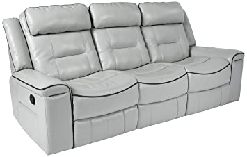 Magnificent Homelegance Darwan 88 Leather Gel Double Reclining Sofa Light Gray Bralicious Painted Fabric Chair Ideas Braliciousco