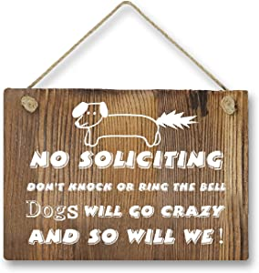 Agantree Art Funny Dog No Soliciting Rustic Front Door Hanger Wood Decor Sign for Kids Boys Girls Nursery Bedroom