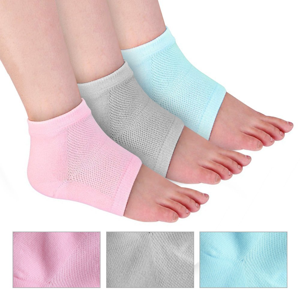 3Pairs Vented Moisturizing Silicone Gel Heel Socks Day Night Toe Open Feet Care Sets Ultimate Treatment for Dry Hard Cracked Heels & DIY Simple Home Remedies by ICEBLUEOR