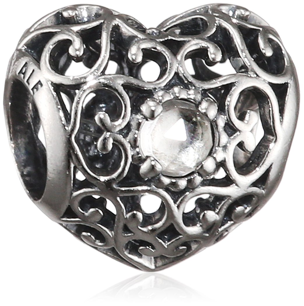 PANDORA 791784RC April Signature Heart Charm by PANDORA (Image #1)