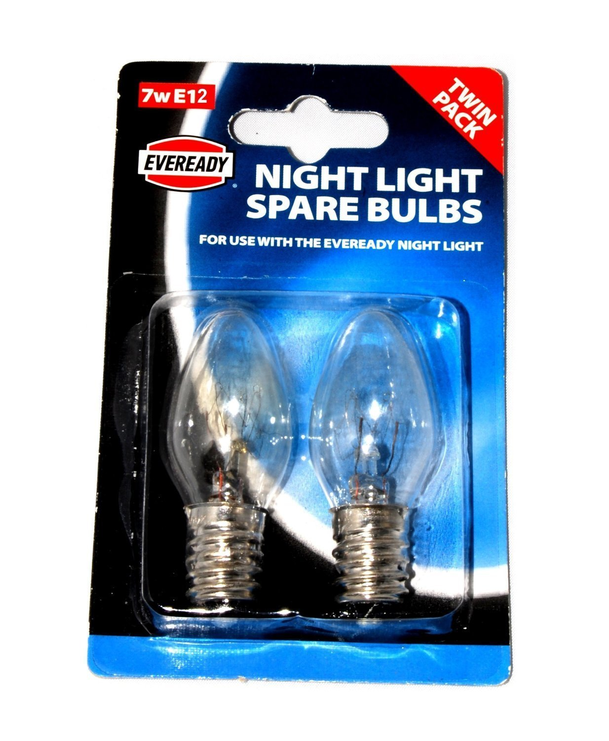 Twin Pack EVEREADY Night Light Spare Bulbs For use with The Eveready Night Light -*SEE NOTE 12mm Thread Diameter E12 7w 220-240v AC