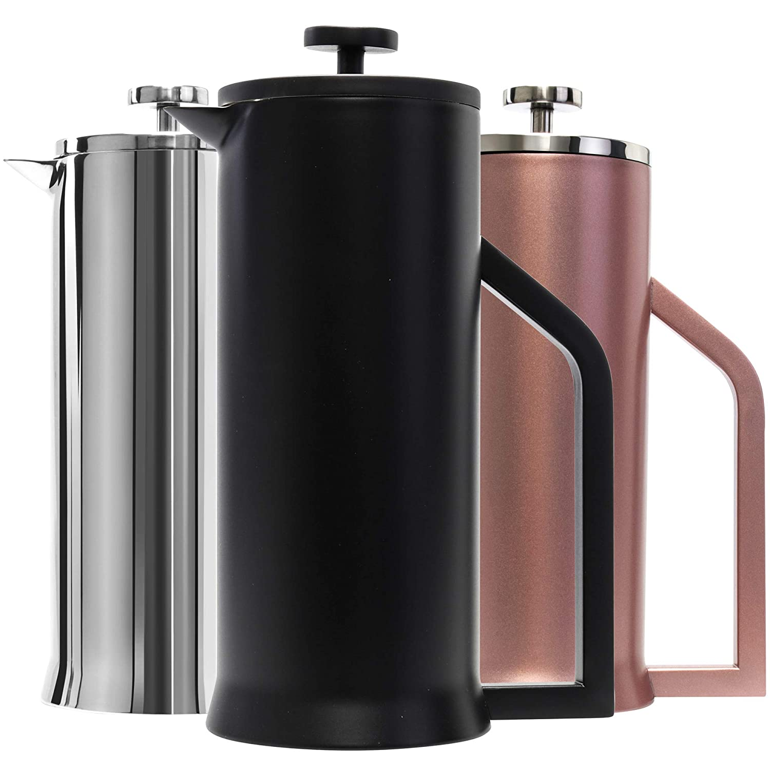 Lafeeca French Press Coffee Maker – Stainless Steel Double Wall Vacuum Insulated – Large Capacity Thermal Brewer – Black