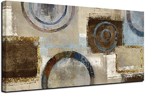 Acocifi Abstract Canvas Wall Art Grey Geometric Circle Painting Large Size Modern Blocks Pictures Artwork Framed Ready to Hang