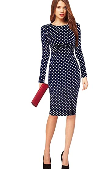 72951b50a93c Unomatch Women's Long Sleeves Skin Tight Full Doted Dress Navy Blue at  Amazon Women's Clothing store: