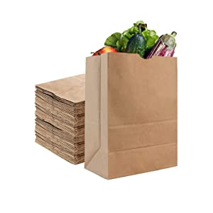 Stock Your Home 52 Lb Kraft Brown Paper Bags (50 Count) - Kraft Brown Paper Grocery Bags Bulk - Large Paper Bags for Grocery Shopping